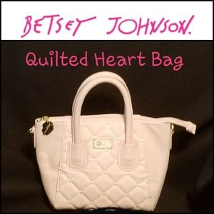 Betsey Johnson Pink Quilted Heart Bag